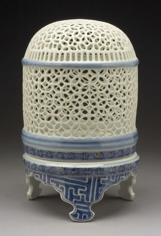 Blue and White Reticulated Censer (kōrō) or Lantern Japan, early to mid-19th century Ceramics Hirado ware; porcelain with underglaze blue