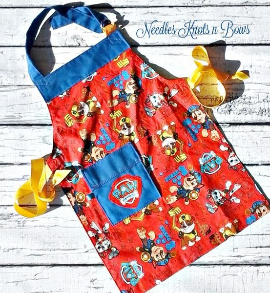 Boys Paw Patrol Apron, Kids Aprons, Toddlers Aprons, Kids Cooking Class Apron, Boys Baking with Mom or Grandma Apron, Novelty Aprons for Kids