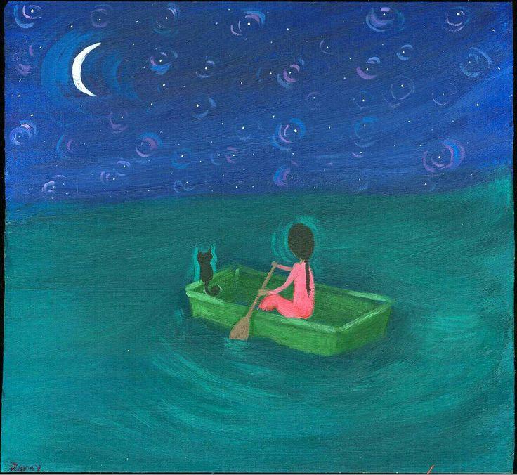 Mexican Folk Art Paintings-Original Artwork Direct From The Artist-RoMy-Terlingua Art Studio: NR! Boat Dream Cat Stars MeXiCaN FoLk ArT RoMy Painting