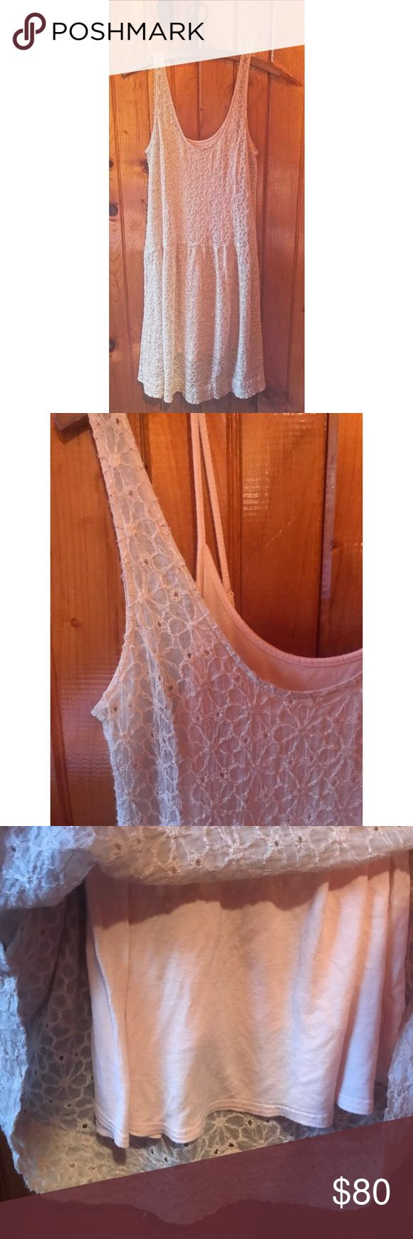 Free People Lace Overlay Dress + Slip ✨NWOT NEVER WORN ✨Perfect condition ✨Light pink color ✨Super comfortable! ✨PACKAGE DEAL INCLUDES FP PINK SLIP! (will not separate) ✨Flower pattern on lace ✨Solid light pink slip ✨Vintage style, very trendy! Free People Dresses Midi