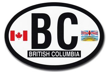 "British Columbia - Canadian Province Oval decal by Flagline.com. $2.25. 3"" x 4.5"" oval decal. Our 3"" x 4.5"" reflective decals let you proudly display the British Columbia flag and the Canadian flag on either side of the province's abbreviation. The decals have a self-adhesive backing for easy application on the exterior of a car or motorcycle.. Save 43% Off!"