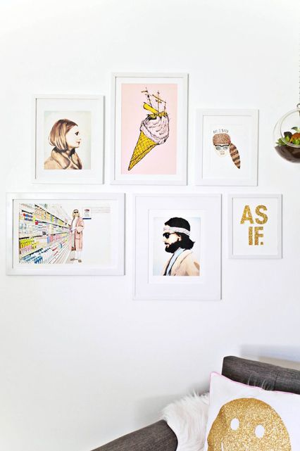 This gallery wall is just the right combo of prints, to add a little bit of fun to our room. We are obsessed with Wes Anderson, so the Margot and Richie prints from The Royal Tenenbaums are perfection, and my brother's talented girlfriend, Sarah, drew us my favorite quote from Moonrise Kingdom. #refinery29 http://www.refinery29.com/a-beautiful-mess/19#slide-7
