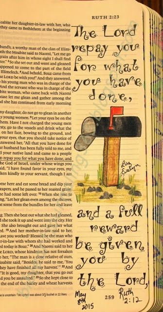 Easy Bible Art Journaling Journey: Ruth 2:12 (May 8th)