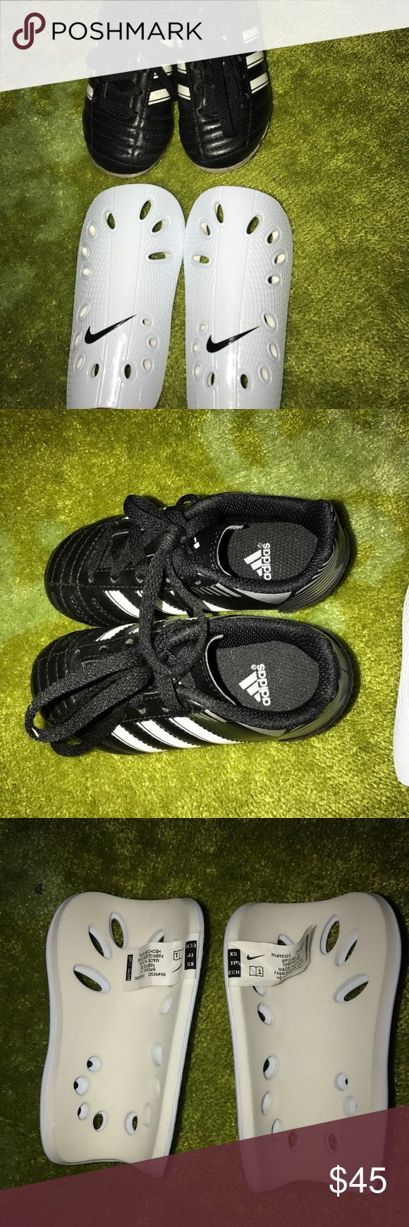 Toddler cleats and shin guard Barely used toddler adidas soccer cleats size 8.5 and Nike shin guard in excellent condition cleats were 60.00 and shin guards 25.00 Adidas Shoes Sneakers