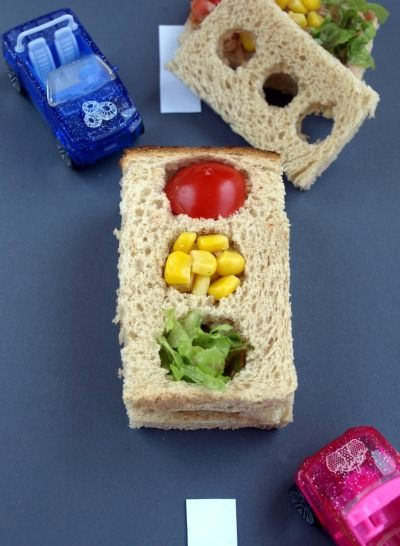 Traffic Light Sandwich. Let kids pick the red, yellow, and green food they want to stuff in their traffic lights!