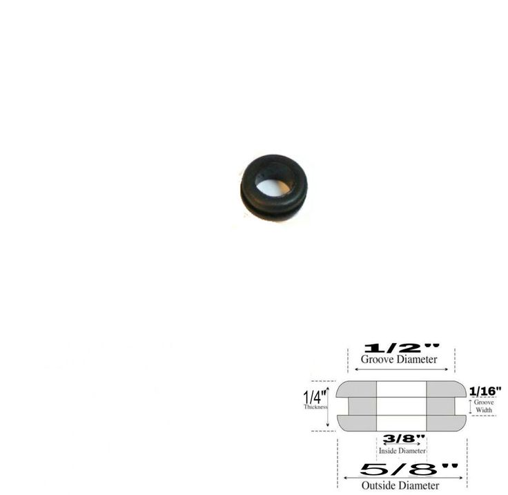"""3/8"""" Inside Diameter Rubber Grommet - 1/4"""" Thick - Fits 1/2"""" Panel Hole"""