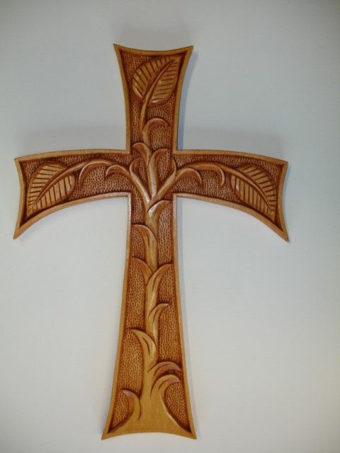 One of a kind Art Nouveau hand carved cross by HOLIWOOD on Etsy, $175.00