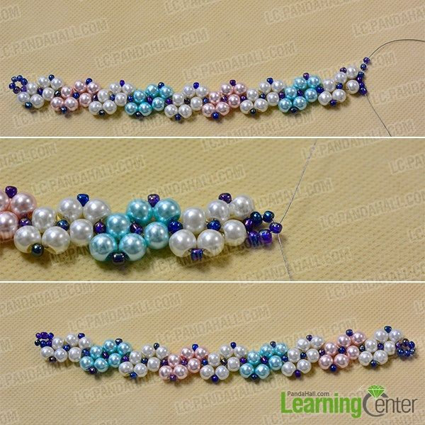 Repeat the pattern with pink and blue pearls