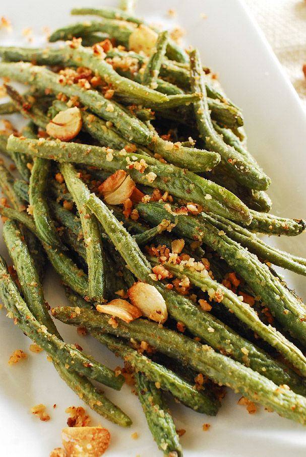 Garlic, Parmesan and almonds roasted green beans - kimkim cooking ...