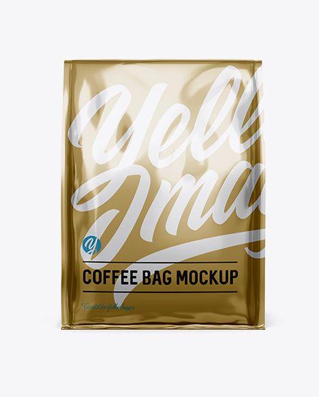 Metallic coffee bag front view