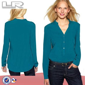 2014 Cheap Plain Long-Sleeved Mandarin Collar V neck Faux Silk Shirt for Sexy Women