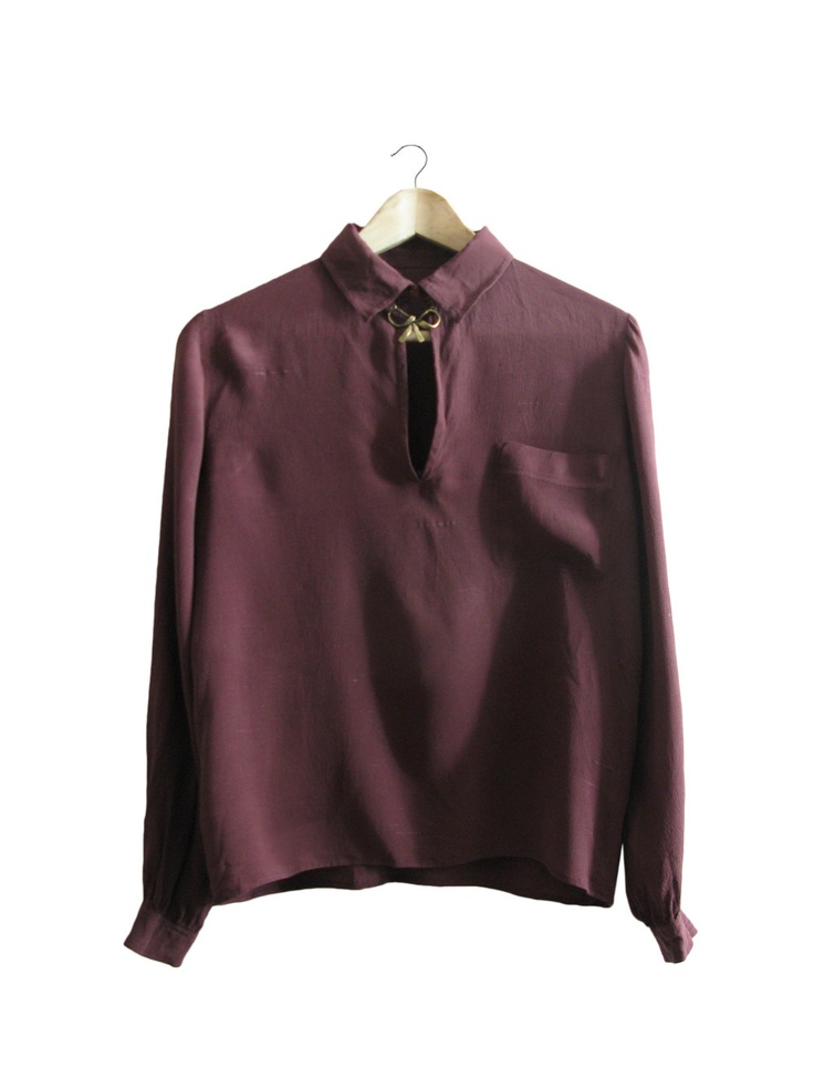 Wine berry silk blouse - purple deep red - 1970. $60,00, via Etsy.