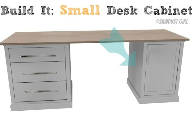 DIY Office Furniture - small desk cabinet from www.sawdustgirl.com