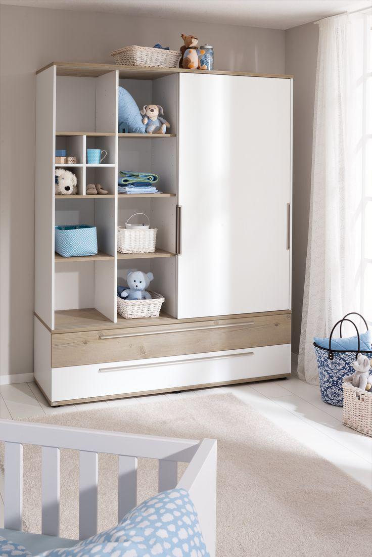 Popular PAIDI CARLO Babyzimmer Ideen in den Farben wei und hellblau mit Schiebent renschrank nicht nur f r kleine R ume Die Optik trifft mit warmer