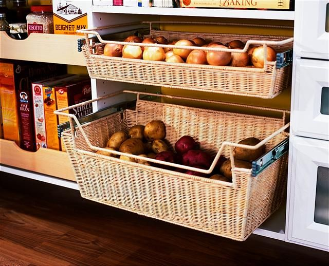 Roll Out Wicker Basket For The Kitchen