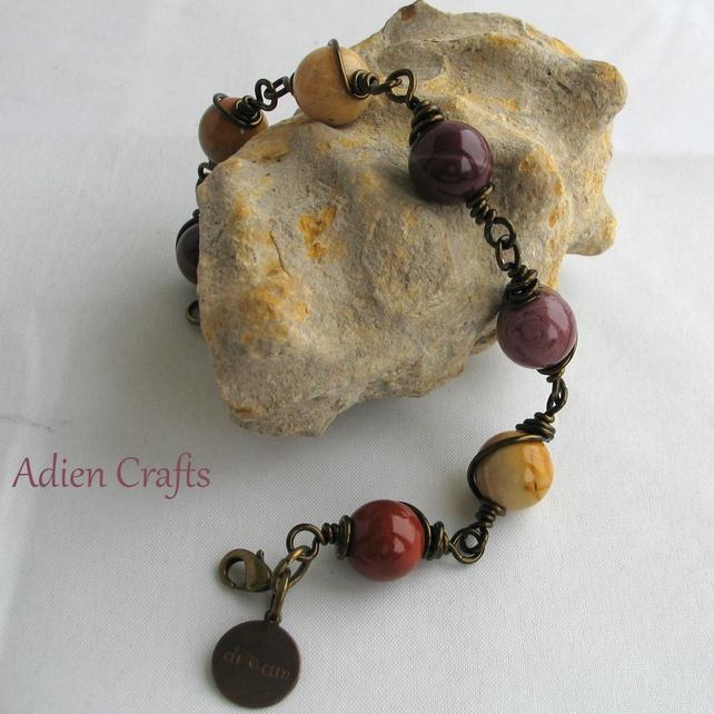 Mookaite Wire Wrapped Bracelet £12.95