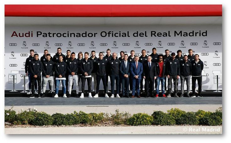 Audi delivered the official vehicles to the first soccer team....The German car manufacturer had set up the day to celebrate their ongoing sponsorship deal with the Spanish champions....