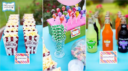 Movie party ideas (popcorn bags, glass bottled pop, popcorn shaped cake pops, theatre candy, etc)