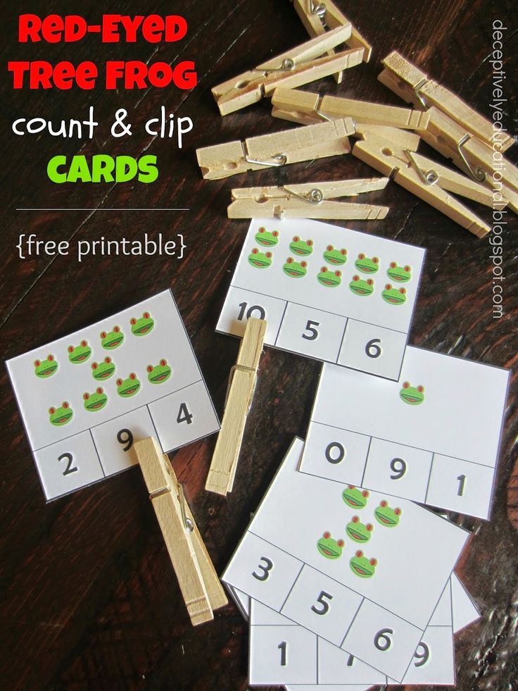 Relentlessly Fun, Deceptively Educational: Red-Eyed Tree Frog Count & Clip Cards