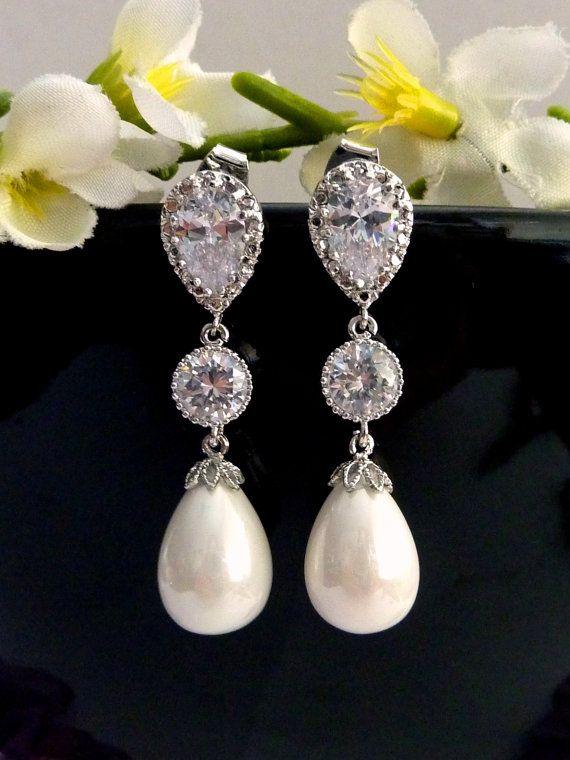 Wedding Earrings Bridal Earring White Teardrop by JCBridalJewelry, $38.00