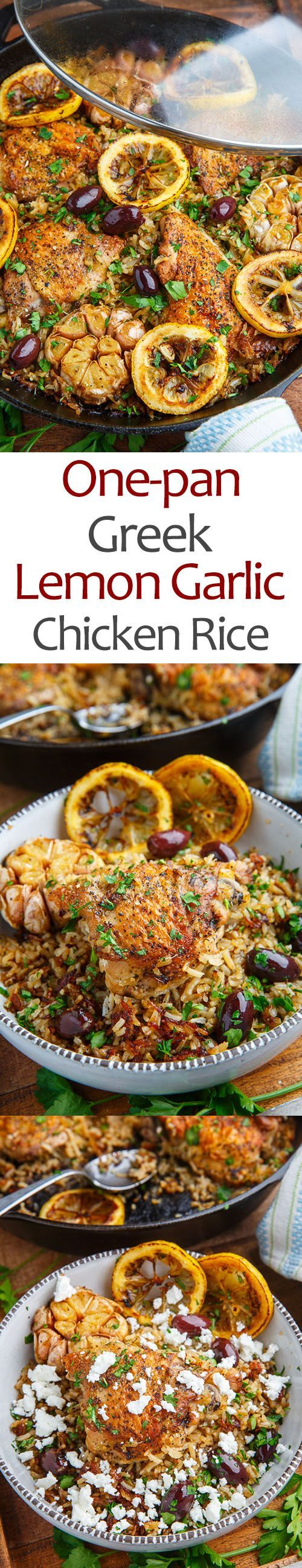 One Pan Greek Lemon Chicken (use veggie alternative)  Rice with Roast Garlic