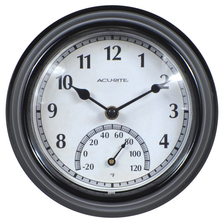 AcuRite Indoor/Outdoor Black Traditional Thermometer with Clock $9.98