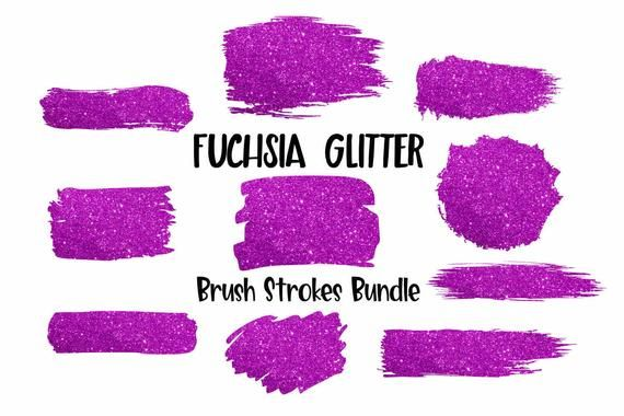 Paint Brush Strokes Fuchsia Glitter – Sublimation Design – Printable –  PNG Tran…
