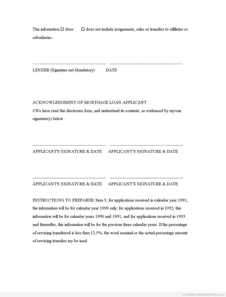 Sample Printable mortgage servicing transfer disclosure Form