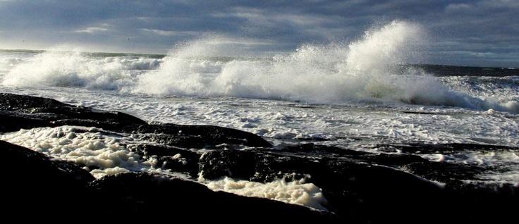 Une mer foudroyante durant l'ouragan Irène.