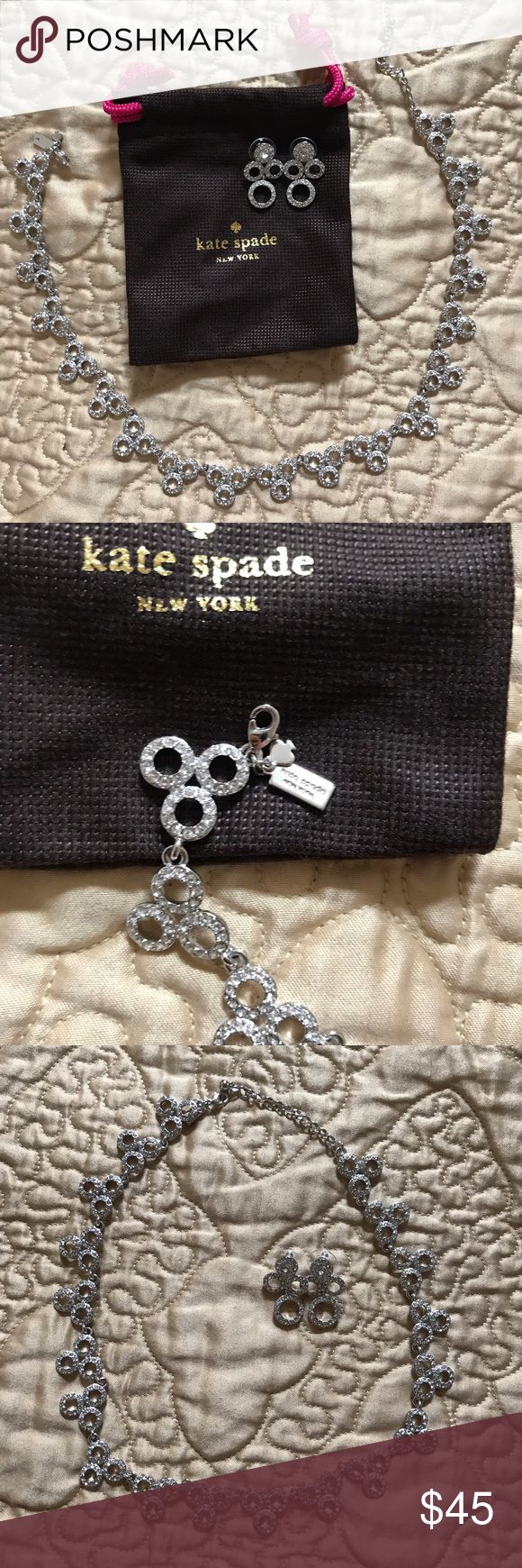 KATE SPADE Diamond Bridal Statement Necklace Gorgeous necklace by Kate Spade. Perfect for a bride or any special occasion! Matching earrings also for sale in my closet. Bundle and save! kate spade Jewelry Necklaces