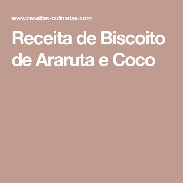 Receita de Biscoito de Araruta e Coco