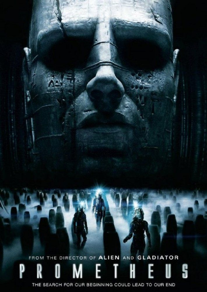 Directed by Ridley Scott.  With Noomi Rapace, Logan Marshall-Green, Michael Fassbender, Charlize Theron. Following clues to the origin of mankind a team journey across the universe and find a structure on a distant moon containing a monolithic statue of a humanoid head and stone cylinders of alien blood but they soon find they are not alone.