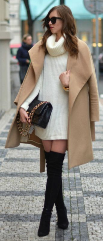 Camel trend + black thigh high boots #gorgeouscombination + Barbora Ondrackova + cream sweater dress + oversized camel coat. Dress: Topshop, Coat: Mango coat, Boots: Stuart Weitzman, Bag: Chanel.