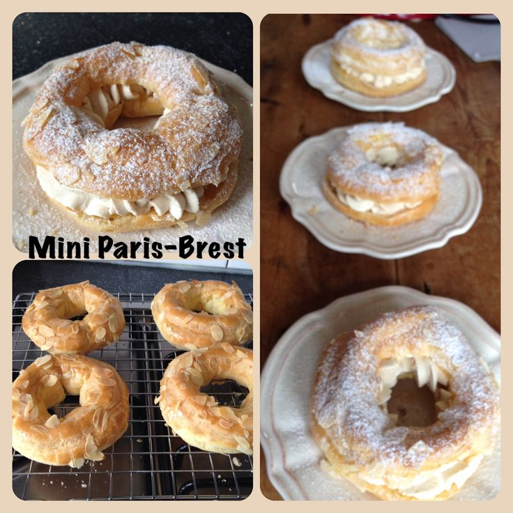 One person size Paris-Brest filled with coffee flavoured whipped cream.