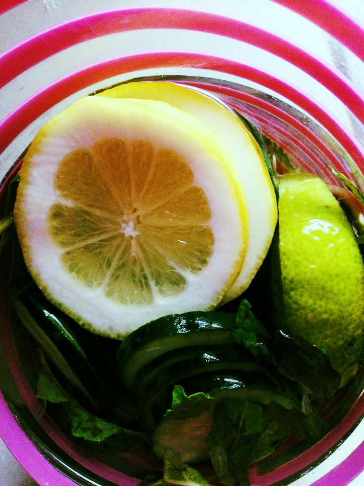 Flat Tummy MIRACLE WATER!!! I took the tips/recipes from Dr. Oz and Kimberly Snyders Beauty Detox to make this and I swear after drinking this all day I woke up the next morning w a flat tum and energy that lasted throughout the day! -Cucumber slices, Mint Leaves, Lemon slices, Lime Slices in a pitcher of Water (drink about 2-3 pitchers of this infused water throughout the day and see the MIRACLE happen)!!