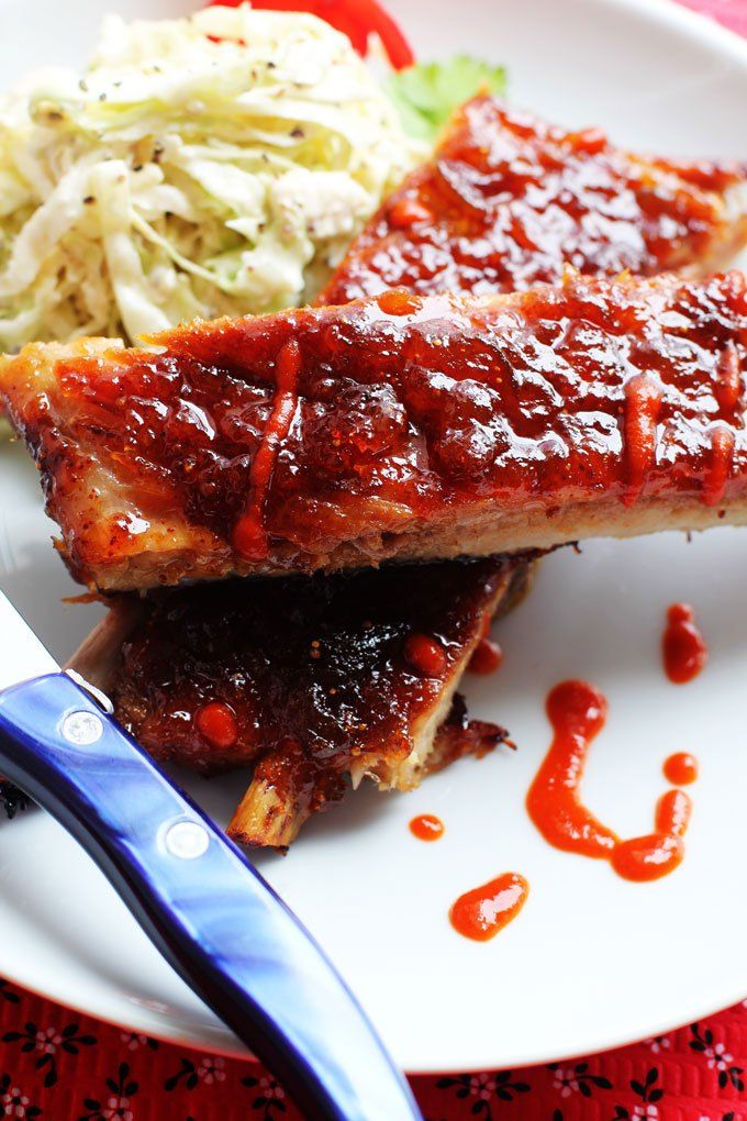 Fig and Sriracha Glazed Baked Spare Ribs