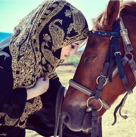 Muslimah With Her Horse