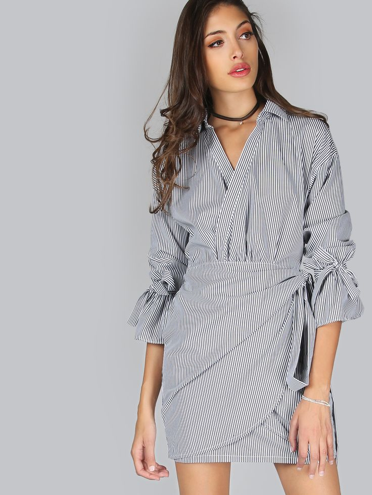 Shop Tie Cuff Pinstripe Wrap Dress BLACK MULTI online. SheIn offers Tie Cuff Pinstripe Wrap Dress BLACK MULTI & more to fit your fashionable needs.