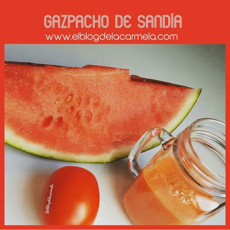 gazpachodesandía.png  Ingredientes  📌 1/2 kg de tomates de pera 📌1/2 kg de sandía 📌1 ajo 📌 4 cucharadas de aceite de oliva virgen extra 📌2 cucharadas de vinagre de jerez 📌1 pizca de sal