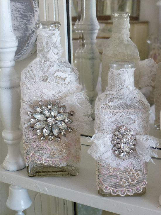 upcycle bottles into shabby chic lace decor -