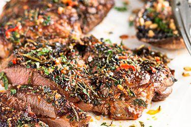 Butterflied lamb with BBQ Mushroom salad