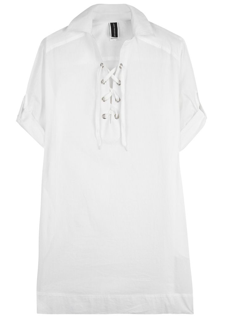 JETS by Jessika Allen white semi-sheer cotton kaftan Lace-up front, button-fastening cuffs  Slips on  100% cotton