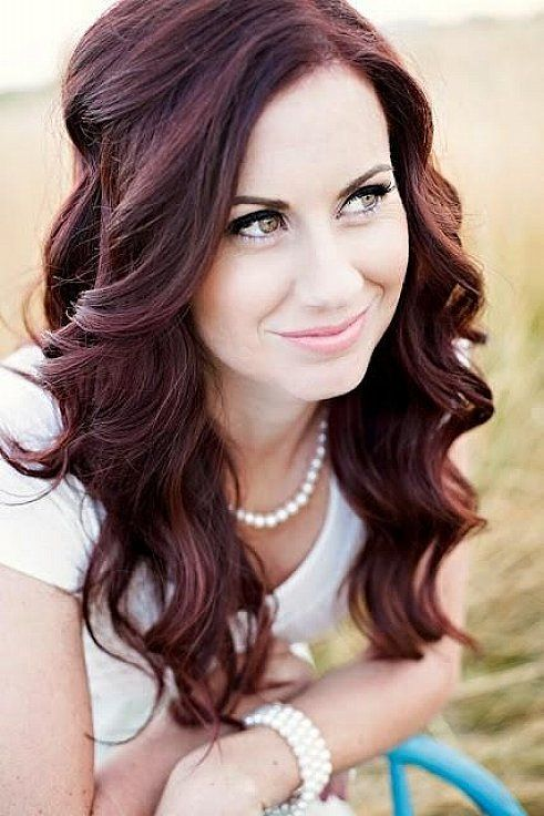 Love this hair color http://weeksact.com/wp-content/uploads/2015/04/Easy-long-wavy-hairstyles-with-side-bangs-for-beautiful-women-that-matching-with-dark-mahogany-red-hair-color.jpg