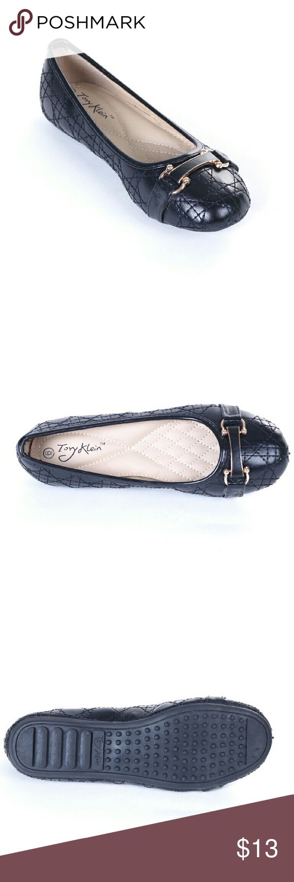 Tory K Buckled Stitched Flats,  b-1639, Black Brand new Tory Klein flats in glossy black with a horseshoe buckle (for luck!) and intricate stitched design. Soft cushioned sole, very comfortable, true to size. Bubbled bottom sole for extra traction. Tory Klein  Shoes Flats & Loafers