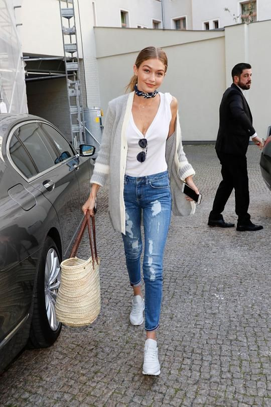 Gigi Hadid wearing Tommy Hilfiger Havana and Rope Anchor Pocket Square Scarf, Tommy Hilfiger Gigi Aviator Sunglasses in P7z Gold, Reebok Lifestyle Cl Leather R13 Sneakers, Tommy Hilfiger Gigi Long Wool Cardigan and Tommy Hilfiger Venice Skinny Fit Jeans