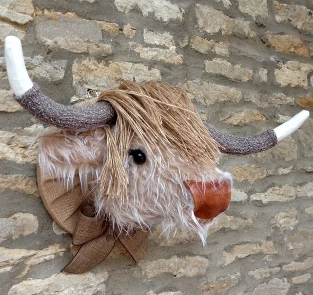 Faux taxidermy furry Highland Cow Coo animal head wall mount £89.00