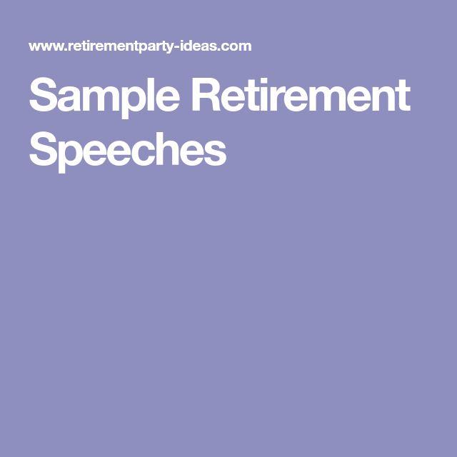 Sample Retirement Speeches
