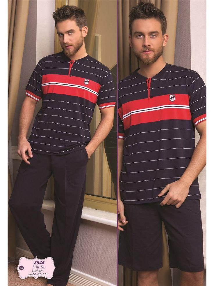 Bone 3844Erkek 3 lü Pijama Takım; Penye kumaştan üretilen erkek 3 lü pijama takım modelidir.