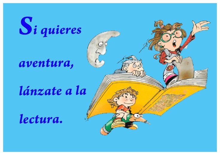 Carteles con frases típicas de animación a la lectura para decorar el aula. Poster para decorar el rincón de la lectura que invitan a leer.