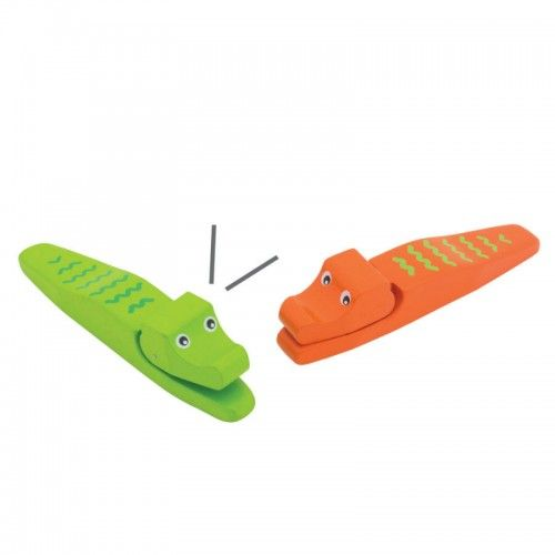 Make music at home with the mouths of these cute crocodile castanets.  This listing is for one castanet only.  The colour you receive will be chosen randomly from one of the four colours available: blue, green, orange or pink. You are welcome to note a preference on the checkout page, however, we can provide no guarantee that your preferred colour will be available. If your preferred colour/s is unavailable, a different colour will be randomly selected for you.